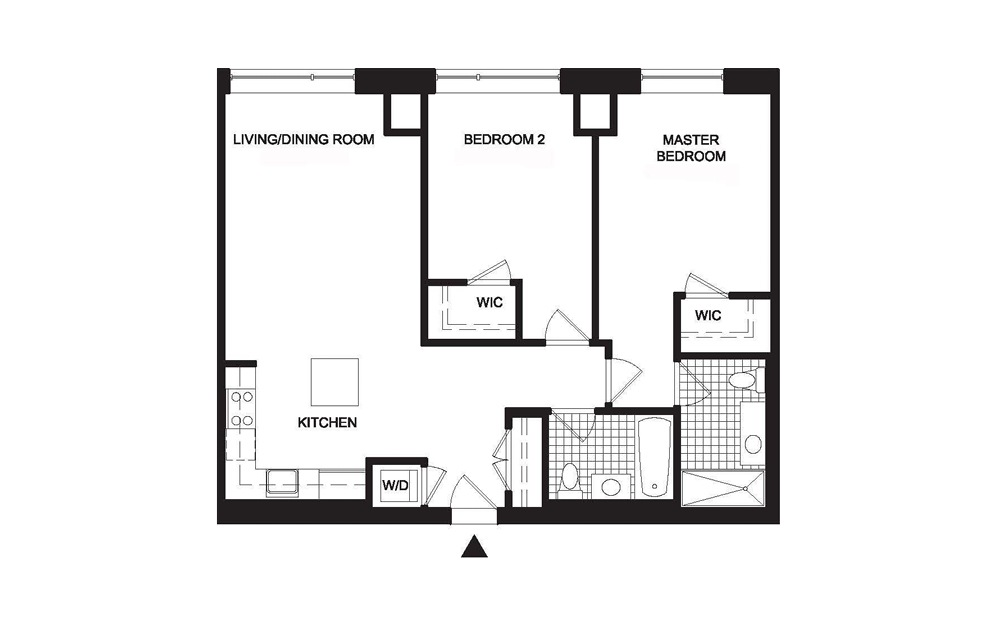 B1 2 Bedroom 2 Bath Floorplan