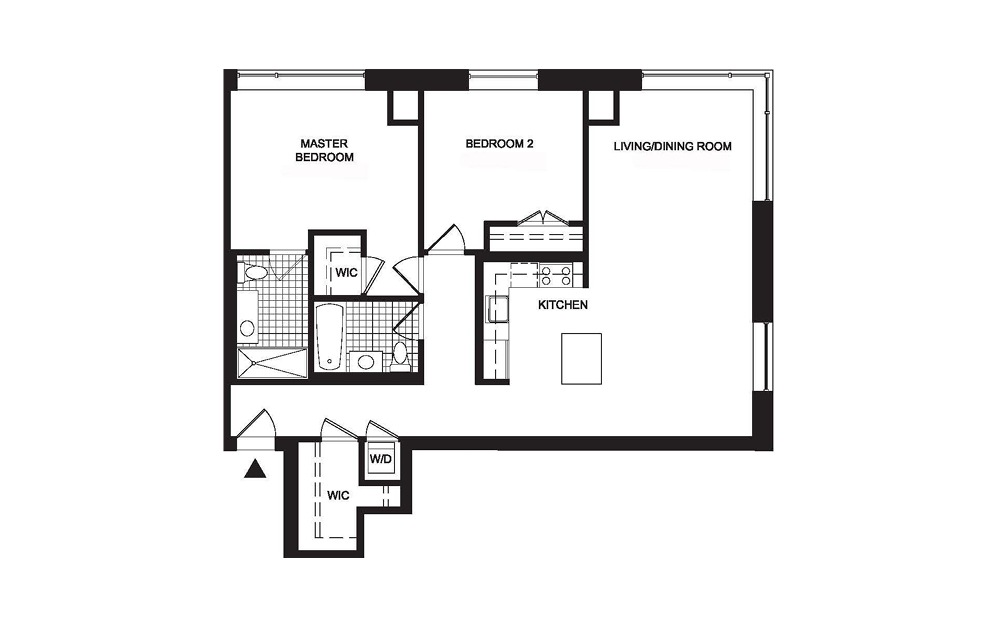 B5 2 Bedroom 2 Bath Floorplan