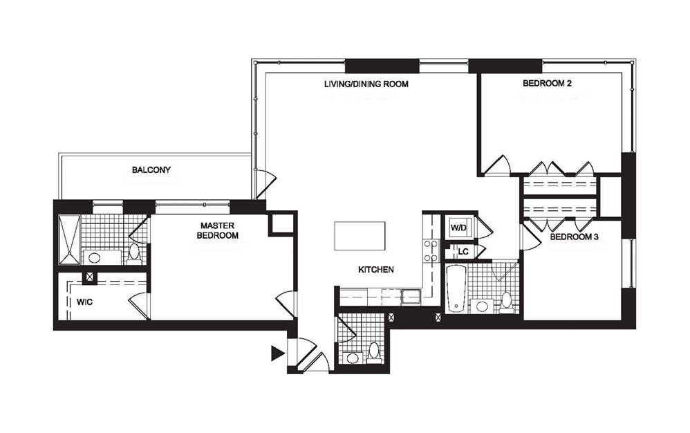 C2 3 Bedroom 2.5 Bath Floorplan